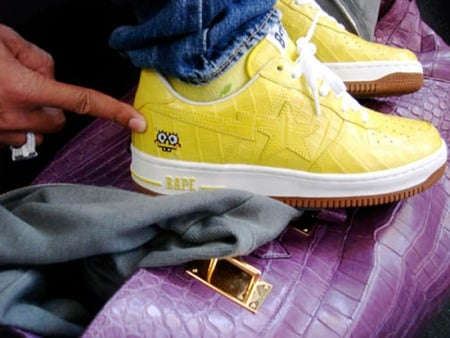 Pharrell Williams x A Bathing Ape Croc SpongeBob Bapesta