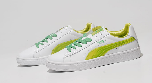 Puma Basket White Green