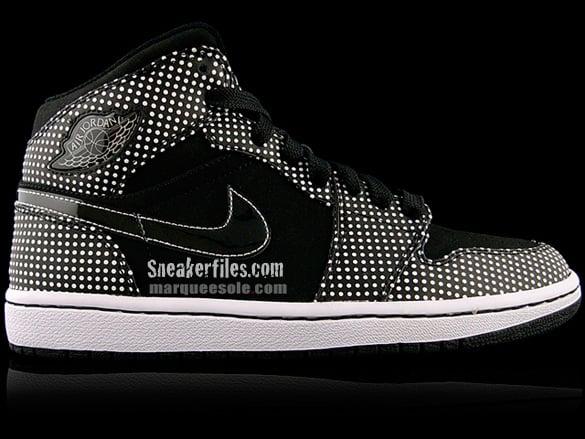 Air Jordan I (1) Mid - Black / White | Polka Dot