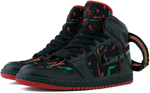 Air Jordan 1 (I) Retro High Tribe Called Quest Midnight Marauders - Sole to Sole Black / Varsity Red - Classic Green
