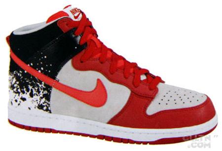 Nike Dunk High Premium Splatter - Neutral Grey / Hot Red - Varsity Red - Black