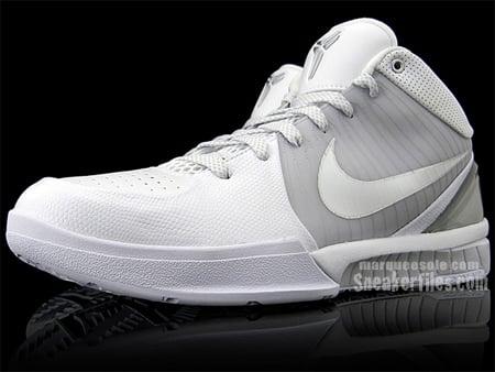 Nike Zoom Kobe IV (4) - White / White- Metallic Silver