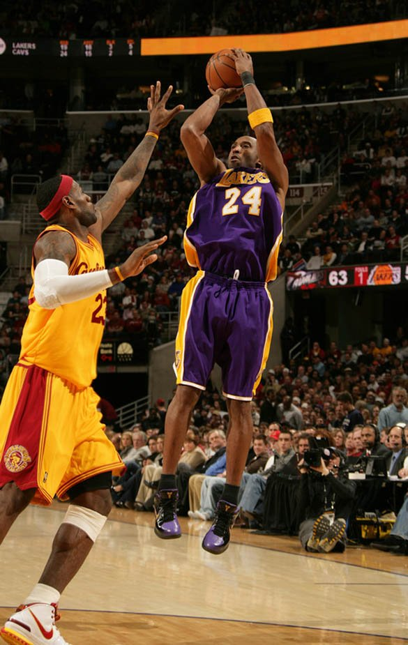 kobe bryant vs lebron james. kobe