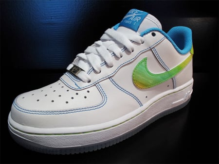 Nike Air Force 1 GS - White / White - Pro Cyan - Citron