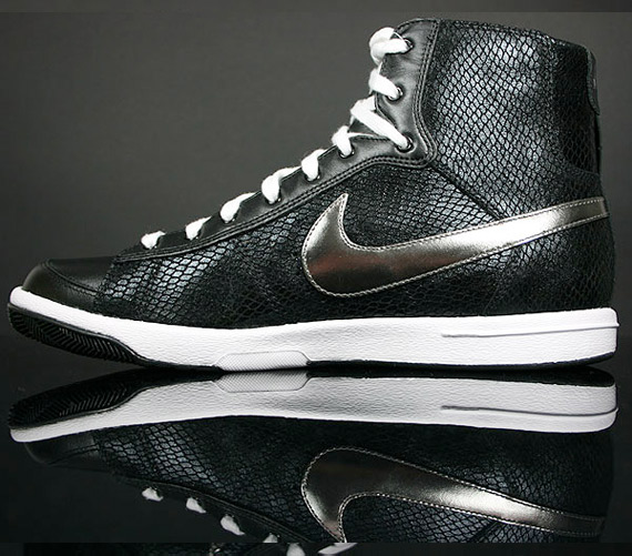 Nike Womens Blazer Mid - Black / Metallic Pewter - White