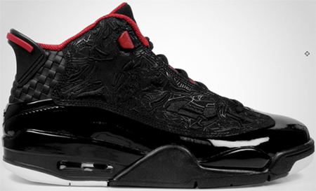 Air Jordan Dub Zero - Black / Varsity Red - White | Detailed View