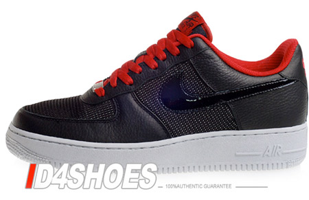 Nike Air Force 1 Low Premium - Black / Black - Varisity Red - Neutral Grey