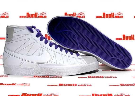 Nike Blazer Mid - White / White - Pure Purple - Neutral Grey