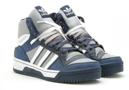 """Z. Entitled the """"OVERCAST"""", the high top is draped in navy blue/grey/white"""