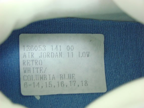 Air Jordan XI (11) Low FTSS Sample - White / Columbia Blue