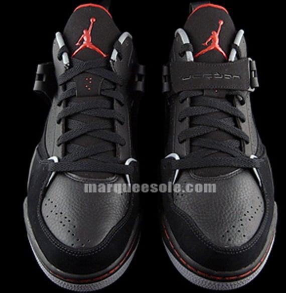 Jordan Flight 45 High Black Gym Red Cement Gray : Jordan flight black grey red second look