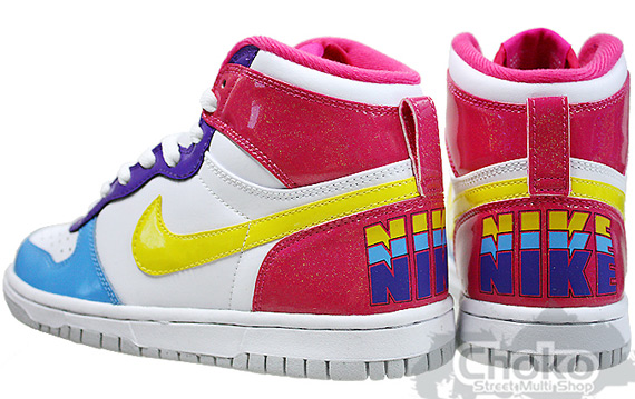 Nike Big Nike High GS - White / Tour Yellow / Vivid Pink / Pro Cyan