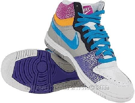Nike Court Force High - Medium Grey / Neon Turquoise - Varsity Purple - Rave Pink