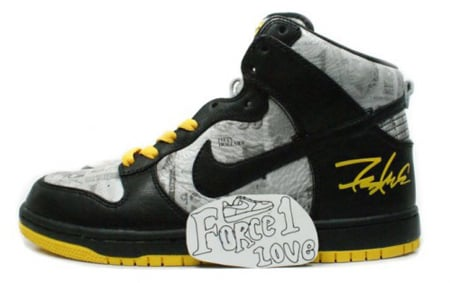 outlet store c5f53 cec08 Futura x Nike Dunk High FLOM Livestrong Greatest Hits Pack