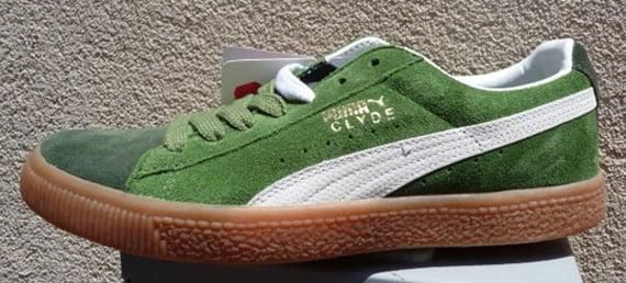puma clyde green suede
