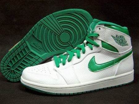 best service bce39 fb1d0 Air Jordan I (1) Retro High - White / Metallic Green ...
