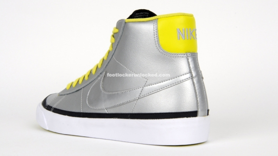 Nike Blazer Mid - Metallic Silver / Black - Electrolime