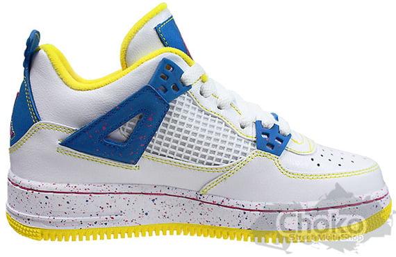 Air Jordan Force IV (4) GS - White / Vivid Pink / Techno Blue