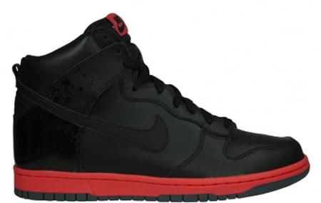 Nike Dunk High - Black / Black - Hot Red