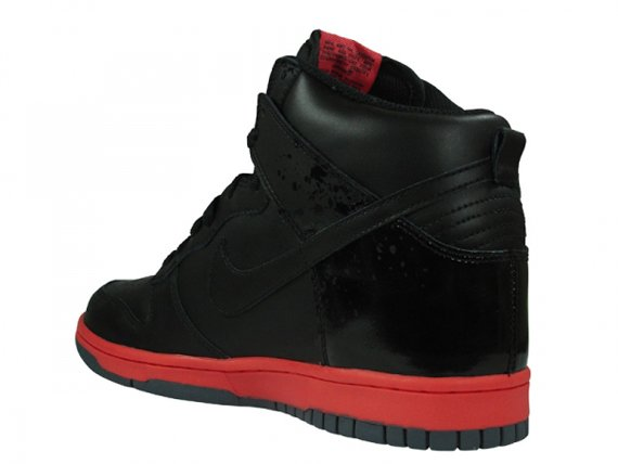 Nike Dunk High - Black / Black - Hot Red