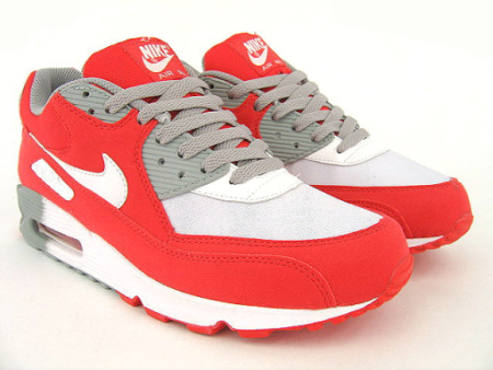 Nike Womens Air Max 90 - White / Challenge Red - Medium Grey