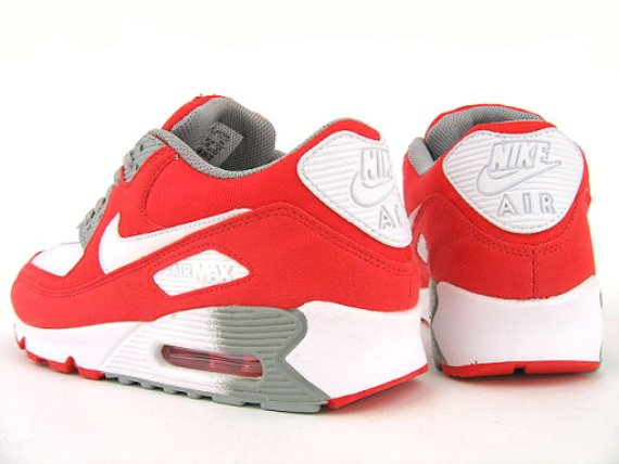 19284e63339e Nike Womens Air Max 90 - White   Challenge Red - Medium Grey ...