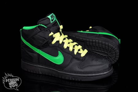 Nike Dunk Hi Nylon Premium – Black / Green Spark – Citron ...