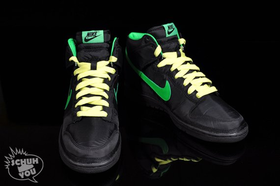 Nike Dunk Hi Nylon Premium - Black / Green Spark - Citron