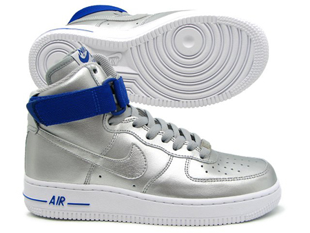 Nike Air Force 1 High 08 - Metallic Silver / Hyper Blue