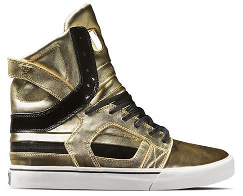 Supra Skytop Athletic Girls Shoes Size 2 Gold//Black