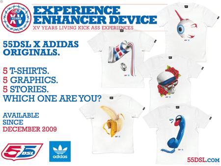 55DSL x Adidas Originals Experience Enhancer Device T-Shirts