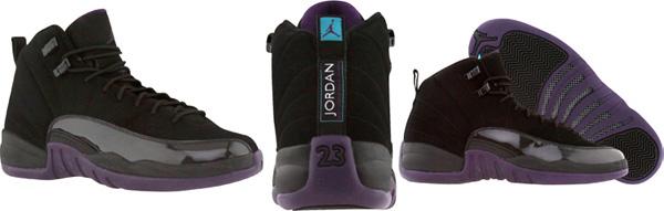 5a91e8176f028b Air Jordan 12 (XII) Black   Grand Purple - Aquamarine