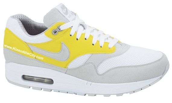 Nike Air Max 1 - White / Neutral Grey - Vibrant Yellow