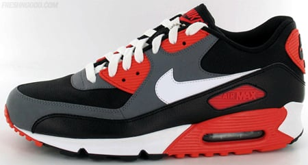 nike air max 90 black white flint grey hot red ears