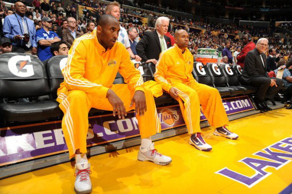 Celebrity Sneaker Sightings - Kobe in (NIKE) RED Laces