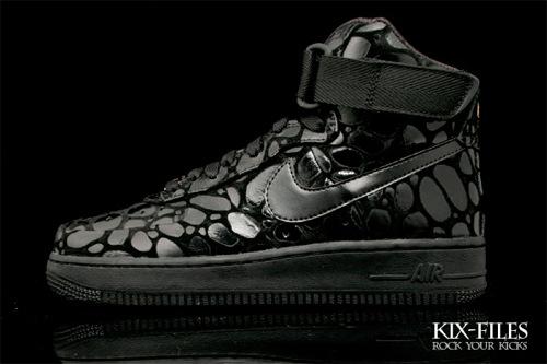 Womens Nike Air Force 1 High Supreme Exotic Croc Glossy Black