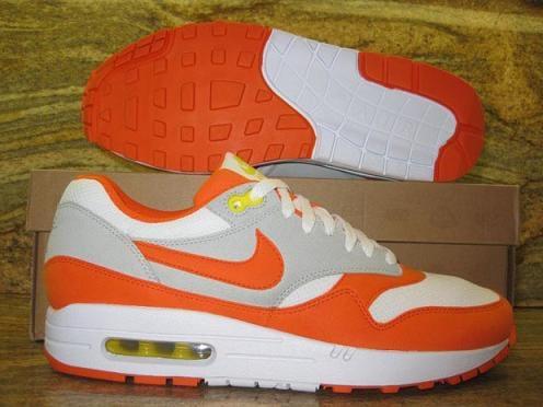 Nike Air Max 1 White/Orange Blaze-Grey Sample on eBay | SneakerFiles