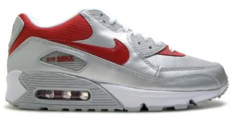 Nike Air Max 90 - Metallic Silver / Varsity Red - White