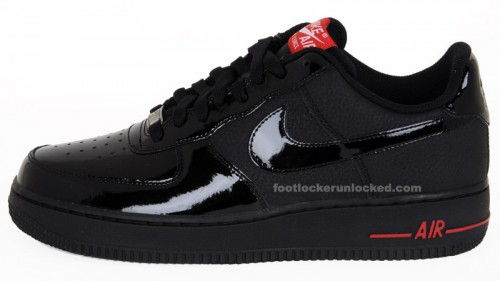nike air force 1 black/black-varsity red