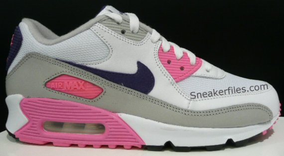 promo code 7cd89 6fffc Nike Women s Air Max 90 - White   Purple - Pink - Grey