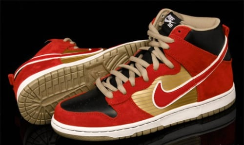 July 2010 Nike SB Dunk High QS- Metallic Gold/Sports Red-Black