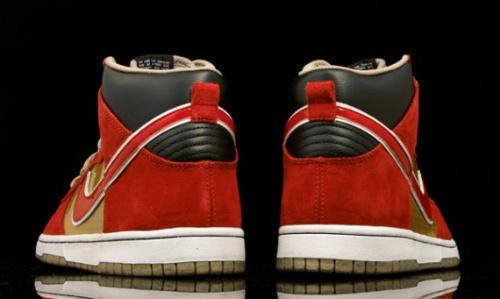 July 2010 Nike SB Dunk High QS- Metallic Gold/Sports Red-Black