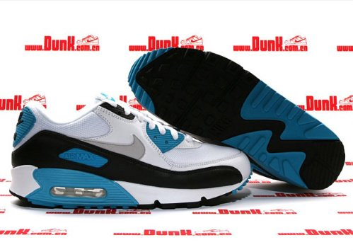 ... nike air max 90 white/black-zen grey-laser blue