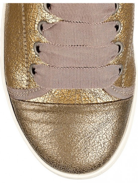 Lanvin Womens Metallic Cracked Leather