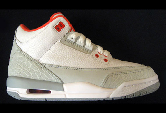 Air Jordan III (3) GS - White/Grey/Red