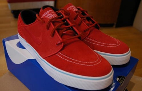 Pictured here is another Nike SB Zoom Stefan Janoski, this time in red suede