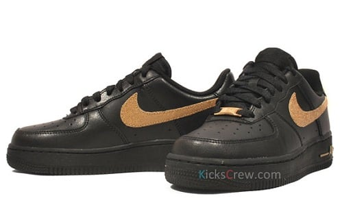 save off 126ca 26bf7 Women's Nike Air Force 1 Low - Black/Metallic Gold | SneakerFiles