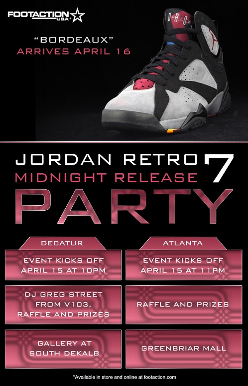 9c38d1593fa2 good Air Jordan Retro VII 7 Bordeaux Footaction Release Parties ...