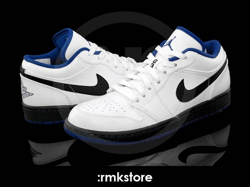 Air Jordan I (1) Phat Low - White/Black-Deep Royal