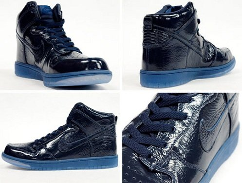 Nike Dunk High - Navy Crinkled Patent